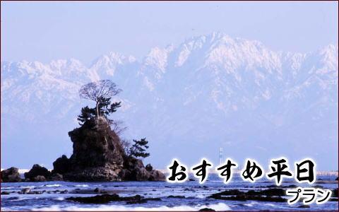 雨晴海岸から望む雪の立山の写真撮影に 平日限定 格安 平日おすすめプラン